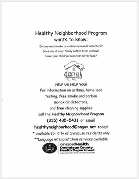 Healthy Neighborhoods Program Flyer: We Want to Know