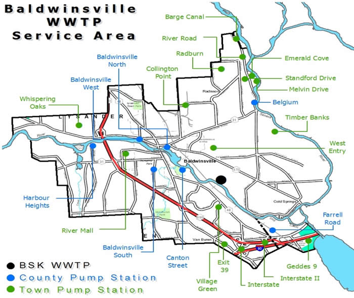 Baldwinsville WWTP Service Area Map